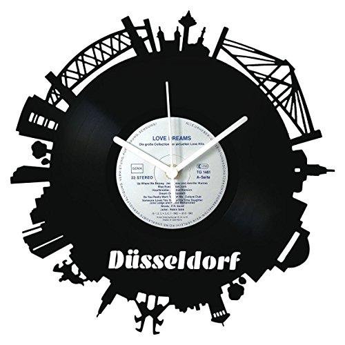 GRAVURZEILE Skyline Düsseldorf 2018 Wanduhr aus Vinyl Schallplattenuhr Upcycling Design-Uhr Wand-Deko Vintage-Uhr Wand-Dekoration Retro-Uhr Made in Germany