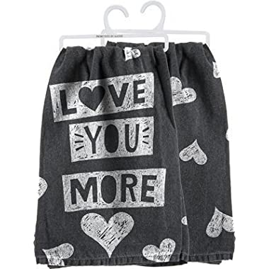 Love You More Towel - Heart Chalkboard Design - Cute Kitchen Dish Towel - 28 Square - Cotton - Primitives By Kathy - Gift Idea Christmas Birthday Fun Decor Decoration