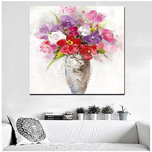 wZUN Imprime la Flor de la orquídea en el jarrón. Pintura al óleo Abstracta sobre Lienzo. Cuadro de Pared de Arte Pop Moderno para el sofá de la Sala de Estar 60x60cm