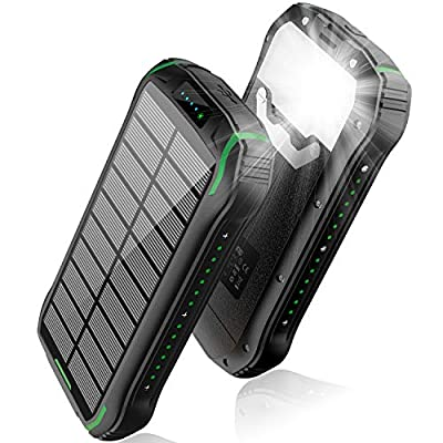 Solar Charger 26800mAh, Solar Power Bank, Portable Charger Battery Pack with 3 Outputs and 2 Inputs Micro USB Type C Huge Capacity Backup Battery Compatible Smartphone, Tablet and More(Black+Green)