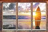 Stil.Zeit Planche de Surf sur la Plage au Coucher du Soleil B & W détailsWindows en 3D Regarder, Taille Sticker Mural ou de Porte: 92x62cm, Stickers muraux, Sticker Mural, décoration Murale
