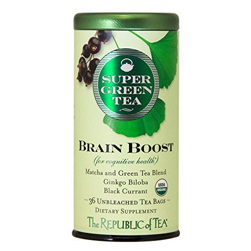 The Republic of Tea Brain Boost Supergreen Green Tea, Ginkgo Biloba, and Matcha Tea Blend (36 Tea Bags)