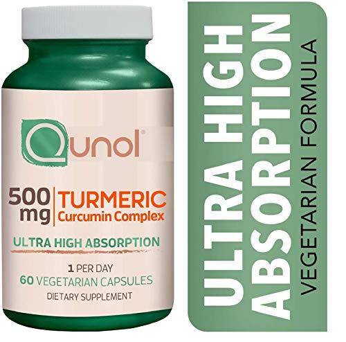 Cápsulas vegetarianas de cúrcuma curcumina de 500 mg, Qunol ultra alta absorción, apoyo articular, suplemento dietético, fórmula de fuerza extra, 60