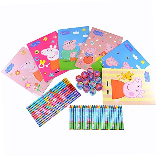 Peppa Pig Coloring Book with Crayons, Wood Pencils and Self Inking Stamps 54 Pieces Set | Peppa Pig Birthday Party Supplies | Peppa Pig Party Favors