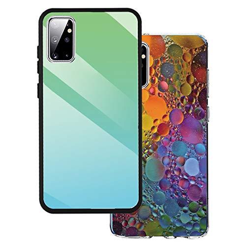 Riyeri [2 Pack] Handyhülle kompatibel für Samsung Galaxy S20 Hülle Farbverlauf Glasgehäuse Schutzhülle + Samsung Galaxy S20 Ultrathin Silikon Shock Absorption Hülle