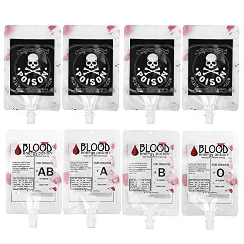 PIXNOR 8 Unidades Bolsa de Sangre Bebida Da de Los Locos Tazas IV Bolsa Contenedor de Sangre Reutilizable Bolsa de Bebida de Energa Accesorio de Broma de Horror para Fiesta de