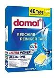 Ultra Power All-in-One - Pastillas limpiadoras para lavavajillas - Limpiador profundo - Contiene abrillantador y sal especial - Con lámina soluble en agua - 40 pastillas