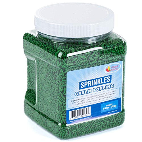 Green Sprinkles - Green Sprinkles in Resealable Container - Jimmies - Food Decorative - Bulk Candy 1.6LB