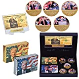 Donald Trump 2020 Collector's Gift Set - 5 Coins - 24K Gold $1M Bill - 2 Decks of Trump Cards - Great Gifts for Men - Relax USA