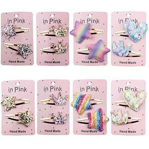 16 Stück Stern Haarspangen für Mädchen, Kinder Haarspangen Mehrfarbige Hairclips Stern Krone Herzform Pailletten, für Geburtstagsfeiern, Reisen und Das Tägliche Leben