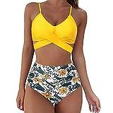 Traje de baño de 2 piezas de mujer Top con tirantes cintura alta impresión floral color liso Pisicina playa elástica cómodo sexy moda verano, amarillo, XL