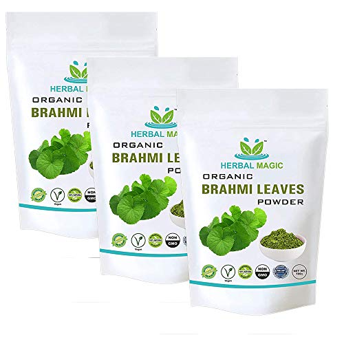 Herbal Magic's Certified Organic Brahmi Leaf Powder Brain Tonic with Antioxidants, Vitamin C A Calcium Iron - Whole Plant Used (Organic Brahmi Leaf Powder, 300 g)