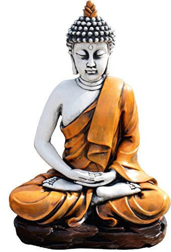DEGARDEN AnaParra Figura Decorativa Buda del Amor Decorativa para Jardín o Exterior Hecho de hormigón-Piedra Artificial | Figura Buda Grande de 73cm, Color Naranja