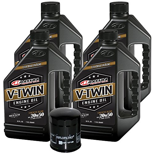 MaximaHiflofiltro VTEOCK21 Synthetic Blend Engine Oil Change Kit for Harley Davidson Twin Cam V-Twin - 4 Quart
