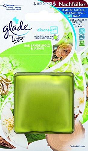 Glade (Brise) Discreet Nachfüller, ideal für kleine Räume, Sensual Sandalwood & Jasmine (Bali Sandelholz und Jasmin), 1er Pack (1 x 8 g)