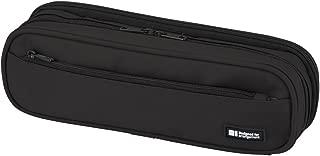 LIHIT LAB. Double Zipper Pen Case, 9.4 x 2.4 x 3 inches, Jet Black (A7557-124)