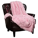 Chanasya Shaggy Longfur Faux Fur Throw Blanket - Fuzzy Lightweight Plush Sherpa Fleece Microfiber Blanket - for Couch Bed Chair Photo Props (60x70 Inches) Pink