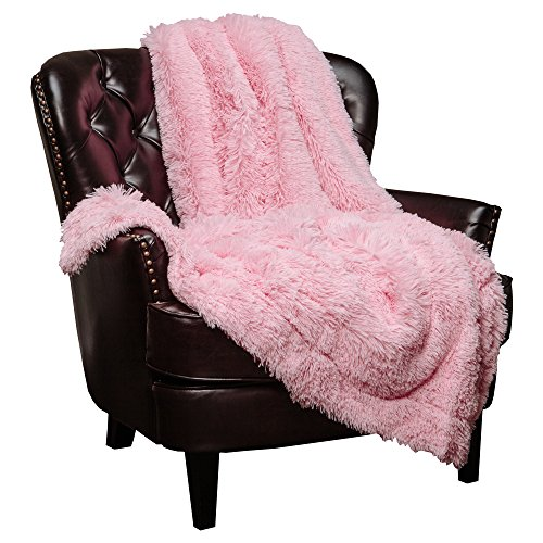 "Chanasya Super Soft Shaggy Longfur Throw Blanket | Snuggly Fuzzy Faux Fur Lightweight Warm Elegant Cozy Plush Sherpa Fleece Microfiber Blanket | for Couch Bed Chair Photo Props - 50""x 65"" - Pink"