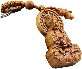LAVALINK Talla De Madera Natural De Grabado Guanyin Barril Llave Clave De Buda Regalo De La Joyería del Anillo para Hombre...