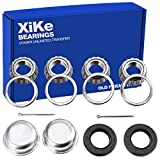 XiKe 2 Set Fits for 25mm Axles Trailer Wheel Hub Bearings Kit, 30205 Bearings and Seal TC 30x52x10mm, Rotary Quiet High Speed and Durable, Include Dust Cover and Cotter Pin.