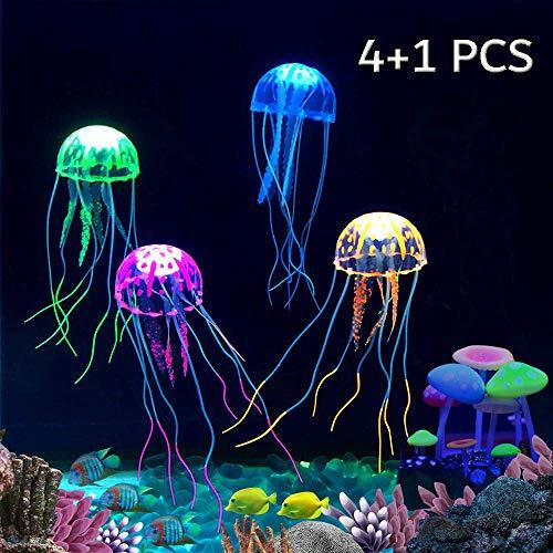 Kingrun 4 Stück leuchtende Quallen Ornament Dekoration und 1 Stück Glowing Effect Künstlicher Pilz Aquarienpflanzen Dekor Ornament Dekoration für Aquarium Landschaft
