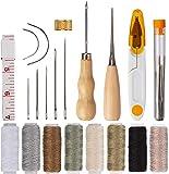AIEX 29 Cuero Artesanía de Cuero Kit de Costura Manual de Bricolaje con Agujas de Coser a Mano, Taladro, Hilo Encerado y dedal para Tapicería de Cuero Alfombra Lienzo DIY Accesorios de Costura