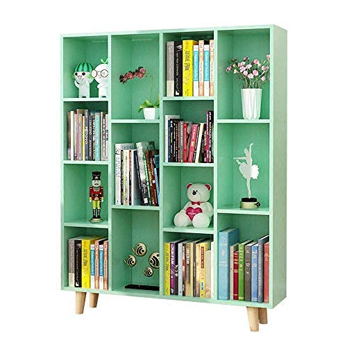ShiSyan Librería MDF Librería de 14 cuadrículas Organizador Organizador Piso de pie estantería Verde (Color: Verde, Tamaño: 124x102cm)