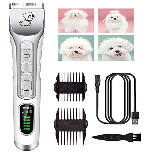 NBVPUE Kit Tosatrice Professionale per Cani Tagliacapelli Animali Gatto Ricaricabile Tosatore Elettrico 4 Pettine Testina Regolabile