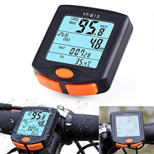 CaCaCook Drahtlose Fahrrad Geschwindigkeitsmesser, Multifunktions wasserdichte LCD-Display Fahrrad Tacho Fahrrad Kilometerzähler Schrittzähler Stoppuhr Hintergrundbeleuchtung für Rennrad Mountainbike