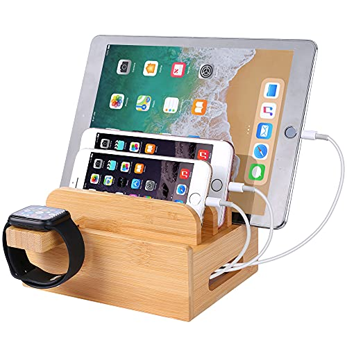 Bamboo Wood Desktop Organizer Charging Docking Station Charger Holder Cradle Charge Stand Compatible with iPhone 12 11 Pro Max XS XR X 8 7 6S 6 Plus iPad Apple Watch 2 3 4 iWatch Smartphones & Tablets