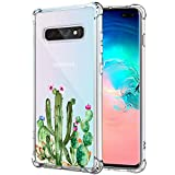 KIOMY Galaxy S10+ Case Clear with Cactus Design Shockproof Bumper Protective Case for Samsung Galaxy S10 Plus Cute Green Succulent Flower Flexible Slim Fit Floral Cell Phone Back Cover Boy Girl Women