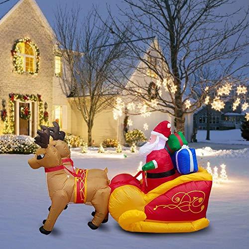 knowledgi Aufblasbarer Weihnachtsmann mit Schlitten und Rentieren Schneemann Weihnachten Santa Claus Deko LED,aufblasbar Weihnachtsdeko beleuchtet Garten, 7,2 Fuß