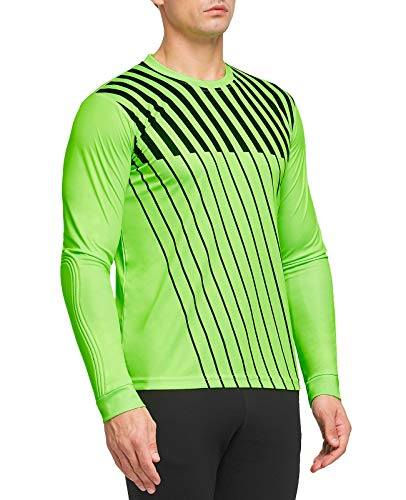 FitsT4 Adult Youth Soccer Goalkeeper Jersey Long Sleeve Padded Goalie Shirt Neon Green/Black