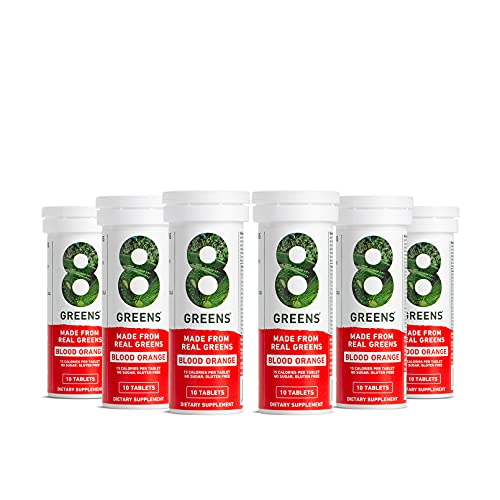 8Greens Immunity and Energy Effervescent Tablets - Packed with 8 Powerful Super Greens (Blood Orange, 6 Tubes / 60 Tablets)