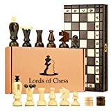 Amazinggirl Chess and Draughts Set Backgammon 3 in 1 - wooden Game Board luxury for Adults and for Children with Large Pieces checkers, travel box 35 cm