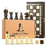 Ajedrez de Madera y Backgammon y Damas Tablero - 3 en 1 Juego de Ajedrez Profesional para Niños y Adulto, Piezas Grande Plegable y portátil (Ajedrez con Backgammon y Dama(3en1), 35X35 cm)
