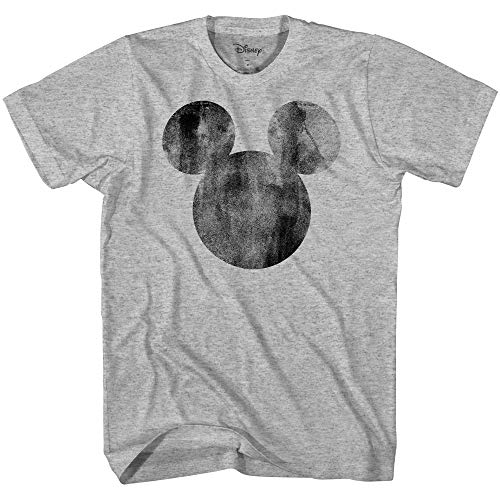 Disney Mickey Mouse Distressed Head Vintage Silhouette Men's Adult Graphic Tee T-Shirt(Heather Grey,Small)
