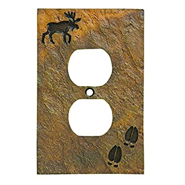 Big Sky Carvers 30170443 Moose and Tracks Single Outlet Cover