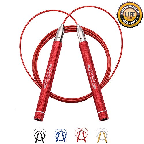 Goothdurs Speed Jump Rope Tangle-Free with Ball Bearing - Adjustable & Self-Locking Aluminum Skipping Ropes with Carrying Pouch Ideal for Crossfit Training, Boxing, and MMA Workouts