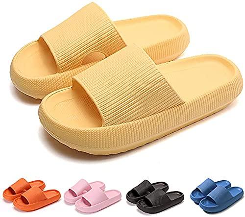 Pillow Slides Slippers Non-Slip Thick Sole Quick Dry Platform Pillow Slides Shoes, Super Soft Home Pillow Slides for Women Yellow 38-39EU/5-6UK