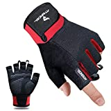 Atercel Workout Gloves for Men and Women, Exercise Gloves for Weight Lifting, Cycling, Gym, Training, Breathable and Snug fit (Red, M)
