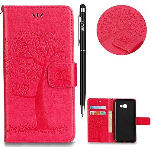 WIWJ Schutzhülle für Samsung Galaxy A5 2017 Handyhülle Leather Case für Galaxy A5 2017 Hülle Lederhülle[Gedrucktes Muster Baum und Eule Handyhülle]Hülle für Samsung Galaxy A5 2017-Rose Rot