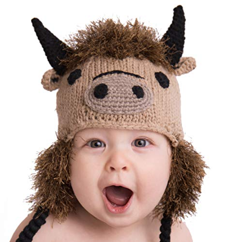 Huggalugs Baby and Toddler Boys or Girls Buffalo Bison Beanie Hat M