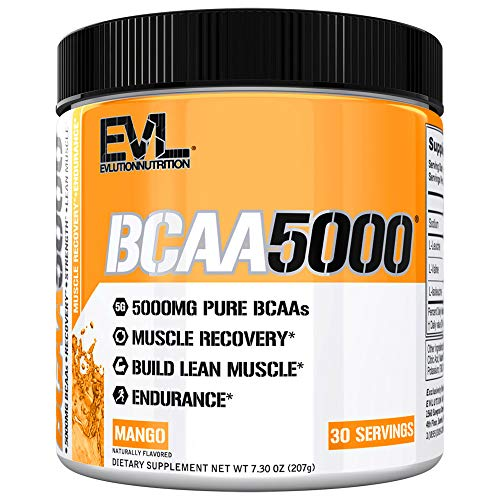 Evlution Nutrition BCAA5000 Powder 5 Grams of Premium BCAAs, 30 Servings (Mango)