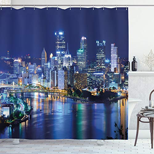 """Ambesonne Cityscape Shower Curtain, Skyscrapers Downtown Pittsburgh American Night Skyline Business Town Scenery, Cloth Fabric Bathroom Decor Set with Hooks, 75"""" Long, Grey Blue"""