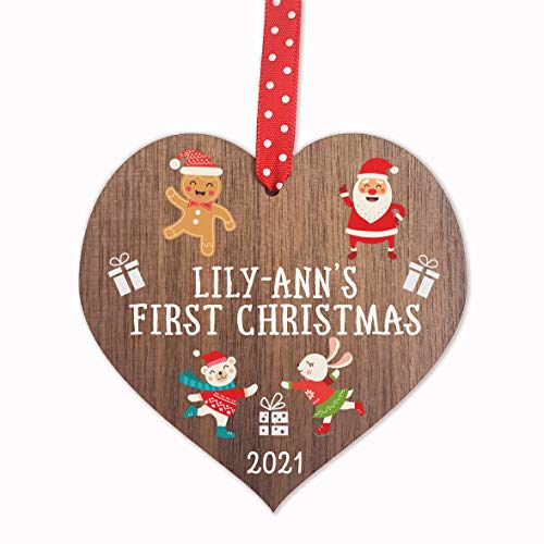 Personalised Baby's First 1st Christmas Bauble tree decoration wooden heart hanging ornament keepsake for boy or girl