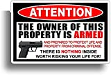 Persönlichkeit Auto Aufkleber Achtung Der Besitzer dieser Immobilie ist bewaffnetes Zubehör Reflektierender Aufkleber, 14 cm * 8 cm