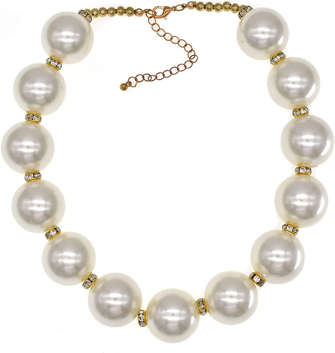 CIOOU Chunky Large Pearl Necklace for Women Big Fake Pearl Necklace Faux Pearl Necklaces Costume Jewelry