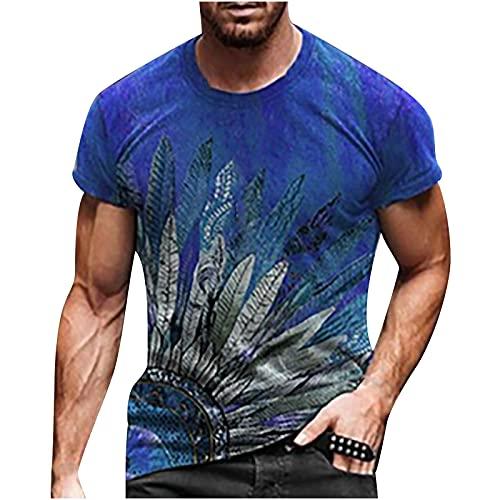 Nuevo 2021 Camiseta Hombre Verano Manga corta Impresión Moda Casual T-shirt Talla grande Blusas camisas Camiseta originales Cuello redondo hombre suave básica Cómodo camiseta deportiva Top