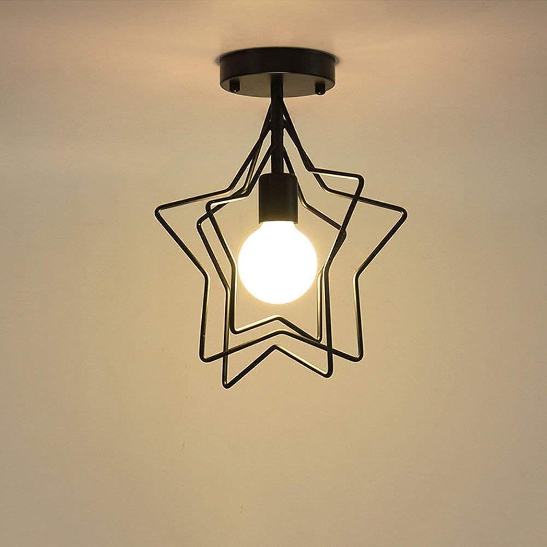 Lustre lumière métal doré étoile à cinq branches semi encastré plafonnier suspension galvanoplascravate finition en fer forgé parfait couloir décoration